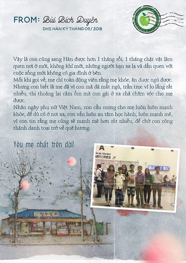 Tâm thư từ bạn Bùi Bích Duyên – DHS Hàn Quốc kỳ tháng 9/2018