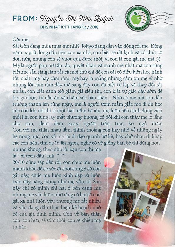 Tâm thư từ bạn Nguyễn Thị Như Quỳnh – DHS Nhật kỳ tháng 4/2018