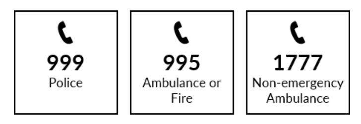 số điện thoại khẩn cấp singapore